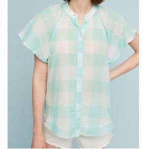 Anthropologie | Maeve mint gingham buttondown top